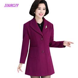 Tamanho médio do vestido on-line-Casaco de lã mulheres primavera médio comprimento médio mulher envelhecida casacos de lã plus size mãe dress moda feminina fino casaco de inverno b90