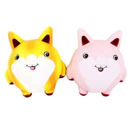 Wholesale fox cream - 13cm Squishy Cute Fox Scented Cream Slow Rising Squeeze Decompression Toys For Children Adults Relieves Stress Phone Strap BBA277