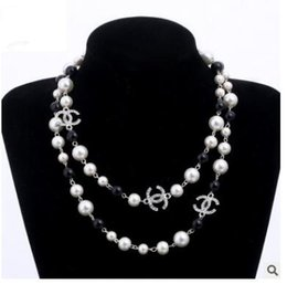 Wholesale Wholesale Long Beaded Necklaces - New fashion white camellia pearl Necklaces Delicate Europen and America Loop long Sweater Chain bride pearl Necklace JKK18