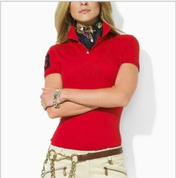 Wholesale Women S Polo - Women's Polo Shirt Style Summer Fashion Big Horse Embroidery women Lapel Polo Shirts Cotton Slim Fit Polos Top Casual polos shirts Summer