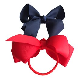 Wholesale Hair Ponytail Bobbles - 6 pcs 4 inch Hair bow WITH Elastic Band Ponytail Hair Holder Kids Girl head accessories Elastic Loop Bobble School Dancing bows