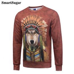Wholesale Cooling Neck Tie - SMARTSUGAR Tie Dye Funny Dog Cosplay American Indian 3D Animal Hoodies Sweatshirts Cool Men Red Hoody Unisex Sweat Tide Clothes