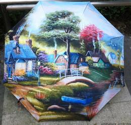 Wholesale Beautiful Woman Paintings - Three Folding Beautiful traditional chinese painting umbrellas women rain umbrella