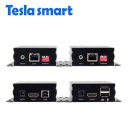 2019 moniteur de sortie vidéo Extendeur KVM de réseau IP intelligent de Tesla Nombreuses extensions KVM USB HDMI de 120 m par CAT5e / 6 TCP / IP (1 TX + 1 RX)