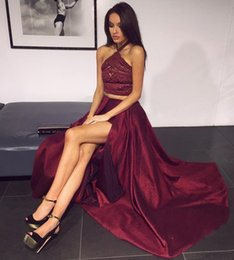 Wholesale hot thighs - Hot Sell Burgundy Two Pieces Prom Dresses 2018 Halter Neck Lace Appliques High Thigh Split Evening Gowns Long Women Occasion Wears