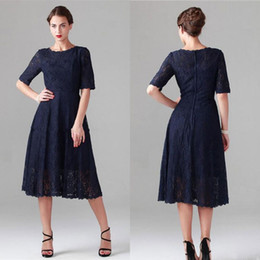 Wholesale Mothers Bride Short Cocktail Dresses - Elegant Dark Navy Mother Of The Bride Dresses Tea Length Full Lace Short Half Sleeves Cocktail Party Gowns Plus Size Wedding Guest Dress