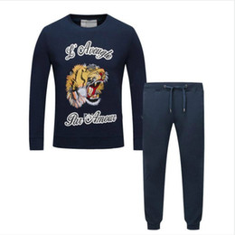 Wholesale Mens Sports Track Suits - Luxury Brand New Long Sleeve Sweatshirt Pants Fashion Embroidery Tiger Sport Print Men Pullover Man Jogging Suits Tracksuit Track Suit Mens