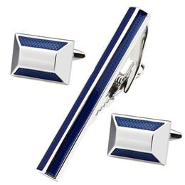 Gravatas do cobre on-line-HAWSON Moda Azul Gravata Clips Abotoaduras Homens Esmalte Abotoadura e Conjuntos de Gravata Conjunta de Moda de Cobre De Metal Tie Pin Conjuntos