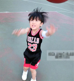 Wholesale Hot Tennis Girl - Kids Tracksuits Boys Girls Summer Sports Suits Sleeveless Clothing Basketball 23 Bulls Tops Shirts Shorts Sets Child Casual Sportwear Hot