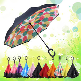 Wholesale Umbrella Protection - High Quality Windproof Reverse Folding Umbrella Double Layer Inverted Umbrella Inside Out Rain Protection C-Hook Hands Umbrella
