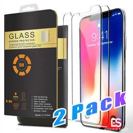 Wholesale iphone packs - 2 Packs For iPhone X 8 7 Plus Screen Protector Tempered Glass For Samsung S8 3D Touch Compatible 0.26mm 2.5D Rounded Edge
