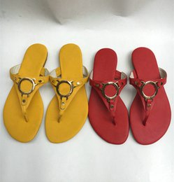 Wholesale light purple high heel shoes - New sandal Luxury brand Women high-end slippers ladies leather 2018 fashion Sole leather flip flops flat-bottomed high-end women's shoes k