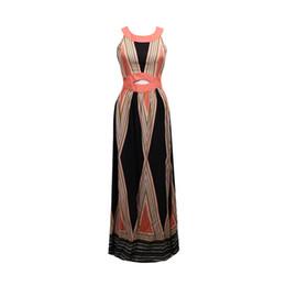 Motifs de robe de soirée en Ligne-Femmes Dames De Mode Élégante Soirée D'été Soirée Robe Sans Manches O-cou Motif Imprimer Taille Haute Une Ligne-parole Longueur Robe