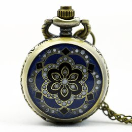 Wholesale Enamel Pocket Watches - 2018 Small Size Vintage Jewelry New Colorful Enamel Rhinestone Movt Flower Pattern Pocket Watch