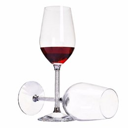 Wholesale Crystal Stems - KEYTREND 470ML Crystal Wine Glass Luxury Toasting Wine Goblets for Wedding Party with Rhinestones Filled Stem Glass AECL010