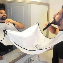 Wholesale White Apron Wholesale - Men Bathroom Shave Apron Beard Care Trimmer Hair Catcher Polyster Shaving Apron Cape Cloth Sink Tools