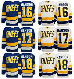 Wholesale Flash Shots - Hanson Brothers Charlestown Slap Shot Movie Hockey Jerseys Ice 16 Jack 17 Steve 18 Jeff Jersey Team Road Blue White
