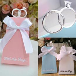 2019 scatole anello artigianale Creativo Cartoon Diamond Ring rosa / blu / bianco Scatole regalo in stile europeo Candy Caramella con nastro per imballaggio di nozze LZ1206 sconti scatole anello artigianale
