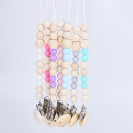 Wholesale wood clip baby - Baby Clip Chain Holder Wood Beaded Pacifier Soother Holder Clip Nipple Teether Dummy Strap Chain EEA64
