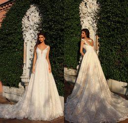 Wholesale hollow back wedding dresses - 2018 New Arrival Designer Wedding Dresses Sheer Neck Sleeveless Beading Back Full Lace Court Train Bridal Gowns Custom Made