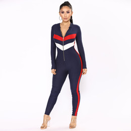 striped jumpsuits Promo Codes - Fashion casual women sexy jumpsuit 2018 spring long sleeve striped hooded zipper skinny full length sexy rompers woman jumpsuit