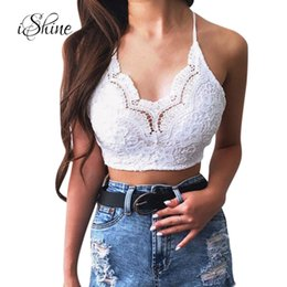 7ed6d08517 Women s Wrapped Chest Sexy Straps Bare Midriff Vest Hollowed Out Floral Lace  Short Crop Tops Ladies Criss Cross Backless Tanks