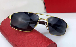 Wholesale Titanium Alloy Eyeglasses Frame - 2018 vintage Men EYEGLASSES FRAMES GOLD GRAY WOOD SUNGLASSES RIMLESS FRAME plated Santos Designer Sunglasses Brand New in Box numC181278