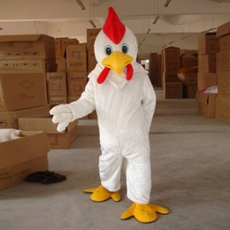 Wholesale Rooster Chicken Costume - 2018 White Cock Rooster Chicken Mascot Costume Animal mascot costume free shipping