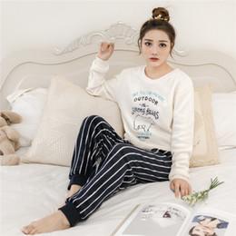 fdd952e6f4 Conjunto de pijamas para mujer Invierno Pijamas de mujer Poliéster  Pantalones llenos Dama de dos piezas Mamá Conjunto de pijamas de dibujos  animados de ...