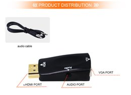 Wholesale Tablet Hdmi Vga Cable - Male to Female for HDMI to VGA Converter With Audio Cable for PC Laptop Tablet Support 1080P HDTV Adapter