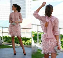 Luxo pena curto Prom vestidos rosa mangas compridas abertas com arco noite vestidos lindo Cocktail Party Dresses para ocasião especial de