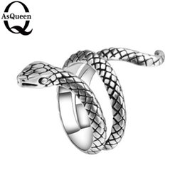 Wholesale heavy metal jewelry wholesale - Fashion Snake Rings For Women Plating Silver Heavy Metals Punk Rock Ring Vintage Animal Jewelry Wholesale
