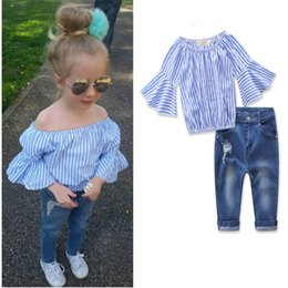 37f83e911790 Baby Girl Summer Clothing Sets Strapless Striped Shirt + Jeans 2 pieces set  2T-7T Baby Girl Clothes Girls Jeans Kids Clothing LA650-2