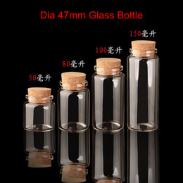 Wholesale Large Diameter Glass - 32 X Large Volume Clear Glass Bottle With Cork Lid Container Borosilicate Diameter Of 47mm Empty