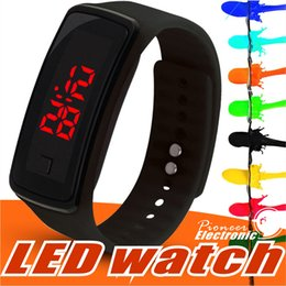 Wholesale led watches for women - New Fashion LED Watches Sport Digital Display Bracelet Wrist Watch Silicone Touch Screen candy band for men women Children's Students