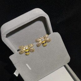 needle plant Promo Codes - Golden Bee modeling zircon micro inlaid high-end exquisite workmanship fashion cute ear pin S925 silver needle