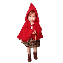 Wholesale Girls Party Jackets - Girls Red Cloak Jacket Poncho Winter Coat Party Dress