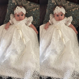 Wholesale Tulle Dresses For Babies - First Communion Dress for Baby Pearl Appliques Ribbon Ruched Short Sleeve Girls Prom Gowns Ivory Floor Length Organza Flower Girl Dresses