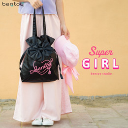 Wholesale Harajuku Fabric - Bentoy Lovely Bowknot Women Shoulder Bag Fabric Female Tote handbag Harajuku Letters Shopping Bag Clutch Purse Feminina Blosa