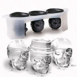 Wholesale Large Plastic Balls - One Set Skull Head Shaped Silicone Ice Mold Whiskey Cocktail Ice Ball Maker Large Ice Cubes