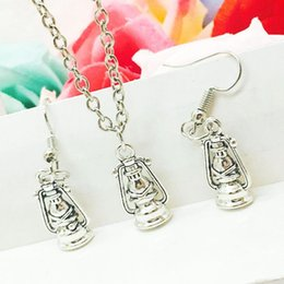 Wholesale Antique Lanterns - 2018 New Hot Sell Antique Silver Horse Lantern Charm Pendant Necklace Earring Set Fashion Creative Women Jewelry Accessories Holiday Gift