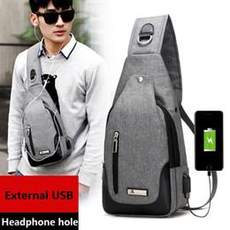 Wholesale Sling Rucksack - External USB Charge Backpack Chest Pack Casual Men's Travel Shoulder Bag Crossbody Sacoche Homme Sling Bagpack Women Rucksack