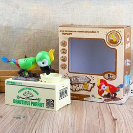 Wholesale Plastic Piggy Banks Children - Parrot Automatic Stole Coin Saving Money Box For Children Gift Creative Design Cartoon Piggy Bank Multi Color 25 48xf C