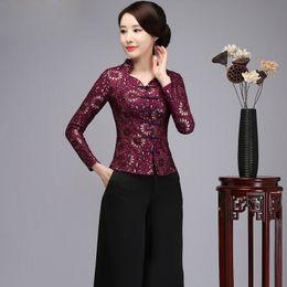 2019 cordón hecho a mano de la camisa Camisa de mujer de estilo chino Flor de encaje púrpura 2018 Blusa de cuello alto de primavera Blusa de botón vintage hecho a mano de gran tamaño S-5XL cordón hecho a mano de la camisa baratos