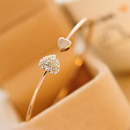 lindo coração Desconto Shuangr senhoras meninas chique lindo brilhante strass sweet heart pulseira pulseira cor de ouro jóias para presente do dia dos namorados