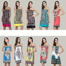 c777fc44eb6 шелковые принты Скидка Женщины летние платья трубки средней длины без  бретелек платье шелк геометрические цветочные печати