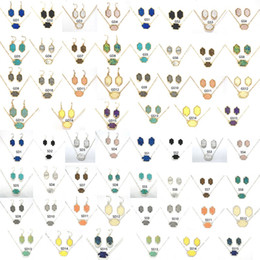 Harz-sets online-15 Farben Druzy Drusy Halskette Ohrringe Schmuck Set Gold Versilbert Hexagon Harz Kristall Ketten Dangle Ohrstecker Kendra Scott