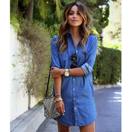 d7da63eb49b Femmes Plus La Taille Vêtements Sexy Mini Jeans Chemises Robes Automne  Manches Longues Denim Robes Causal Livraison Gratuite