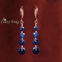 2019 pendientes locos Crazy Feng envío gratis moda nuevas mujeres oro color rosa CZ cristal perforado cuelga los pendientes de gota pendiente de la joyería de la boda rebajas pendientes locos