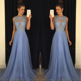 Wholesale Gray Color Photo - Cheap Bridesmaid Dresses 2018 Sexy Back Lavendar Lace Chiffon Maid Of Honor Gowns Formal Wedding Guest Dress Beads Long Sheer Neck
